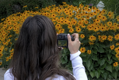 Girl,Camera, Black Eyed Susans